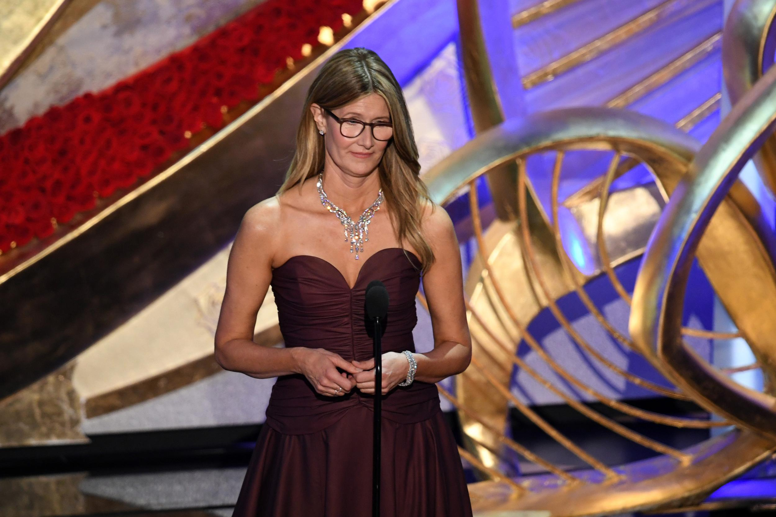 HOLLYWOOD, CALIFORNIA - FEBRUARY 24: Laura Dern speaks onstage during the 91st Annual Academy Awards at Dolby Theatre on February 24, 2019 in Hollywood, California. (Photo by Kevin Winter/Getty Images)