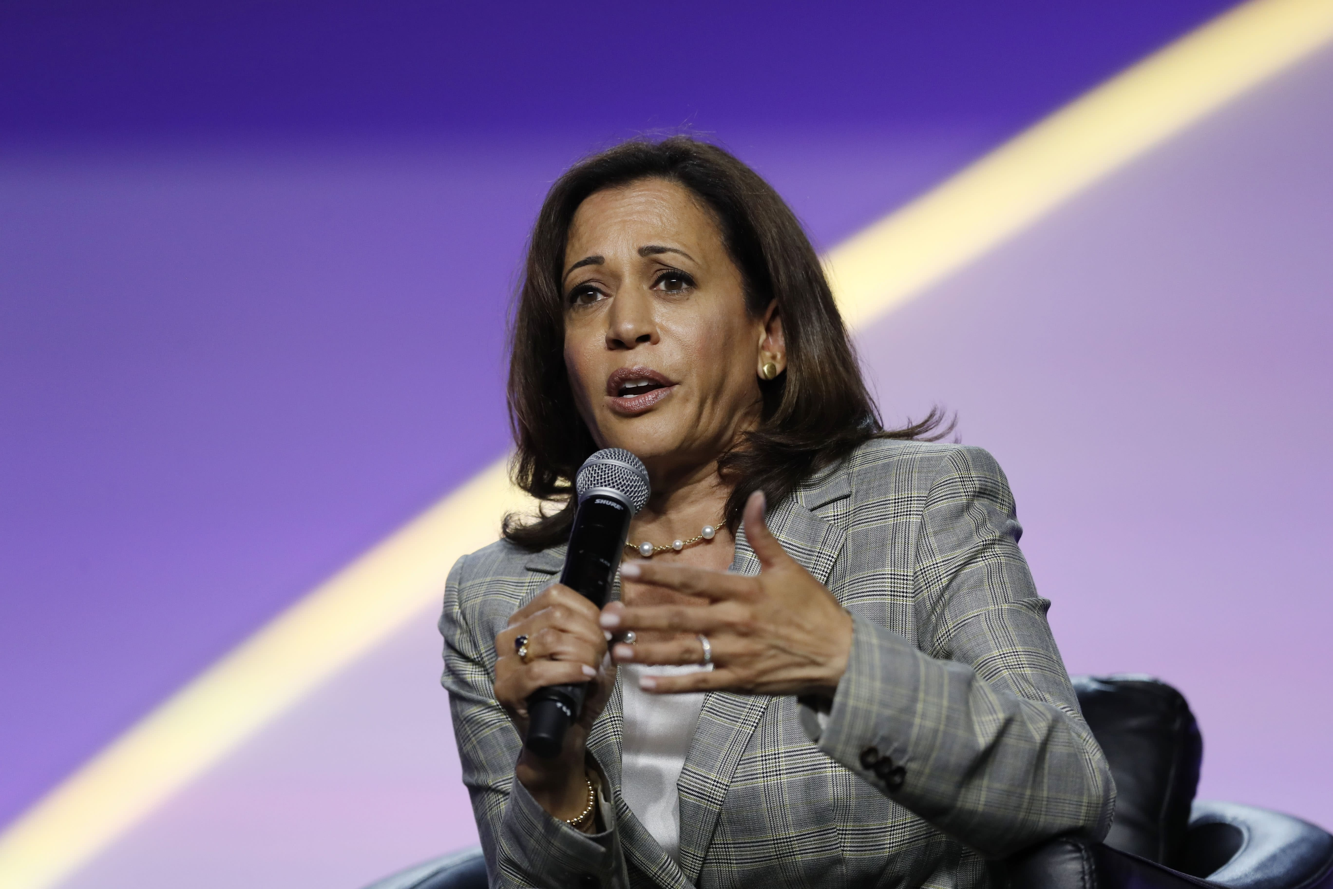 Democratic presidential candidate Sen. Kamala Harris D-Calif. speaks during a candidates forum at the 110th NAACP National Convention Wednesday