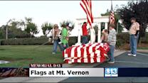 Boy Scouts Place Flags At Mt. Vernon Cemetery