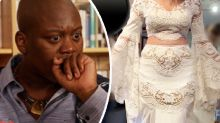 Awkward detail on 'tablecloth' wedding dress stuns