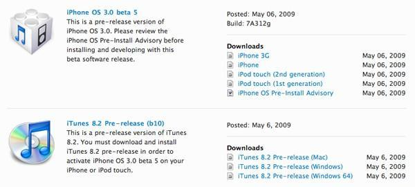 iPhone OS 3.0 beta 5 now available