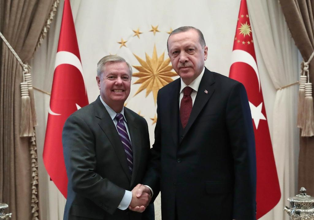South Carolina lawmaker Lindsey Graham, who met Turkish President Recep Tayyip Erdogan for two hours, said he believed the 'goal of destroying ISIS is not yet accomplished' (AFP Photo/HANDOUT)