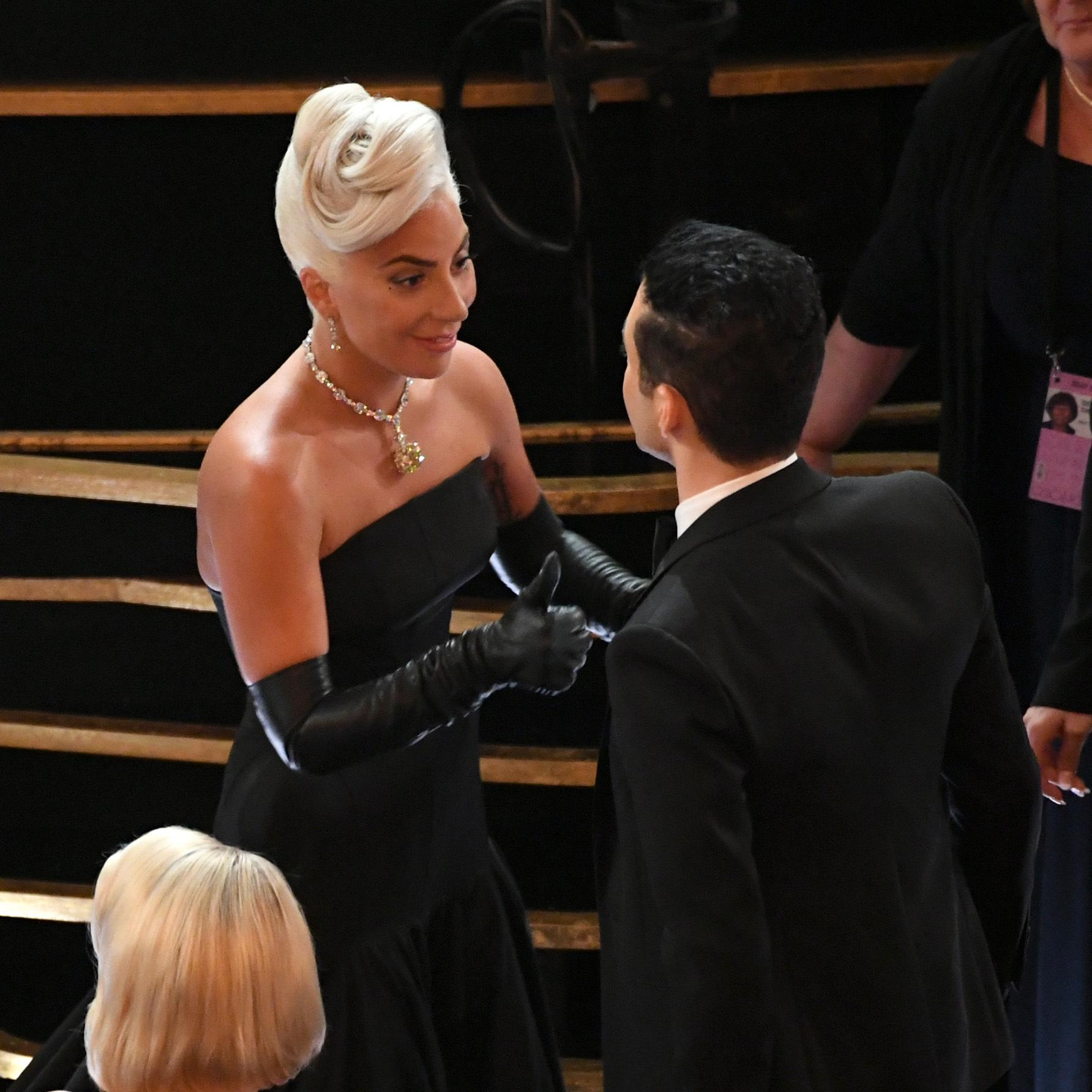 HOLLYWOOD, CALIFORNIA - FEBRUARY 24:(EDITORS NOTE: Retransmission with alternate crop.) Lady Gaga and Rami Malek  during the 91st Annual Academy Awards at Dolby Theatre on February 24, 2019 in Hollywood, California. (Photo by Kevin Winter/Getty Images)