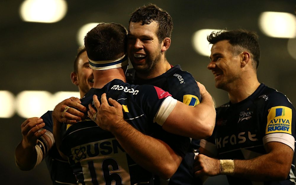 Ben Curry celebrates his try with team mates  - Getty Images Europe