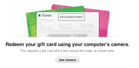 Redeem iTunes gift cards with iTunes 11 and your Mac's camera
