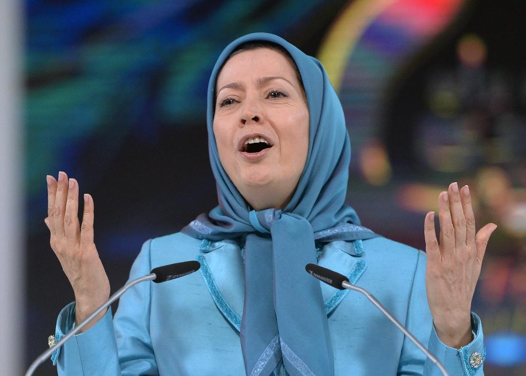 Maryam Rajavi, president of the National Council of Resistance of Iran, gestures during the annual meeting of the Iranian resistance in Villepinte, near Paris, on June 27, 2014