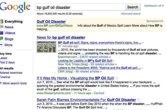 BP damage control extends to purchasing search terms like 'oil spill' on Google, Yahoo