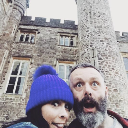 Sarah Silverman and Michael Sheen posing together in Wales.