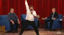 Jack Black sprains his ankle while filming a big musical number for 'Conan' finale