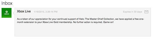 Early Halo: MCC buyers receive free month of Xbox Live Gold