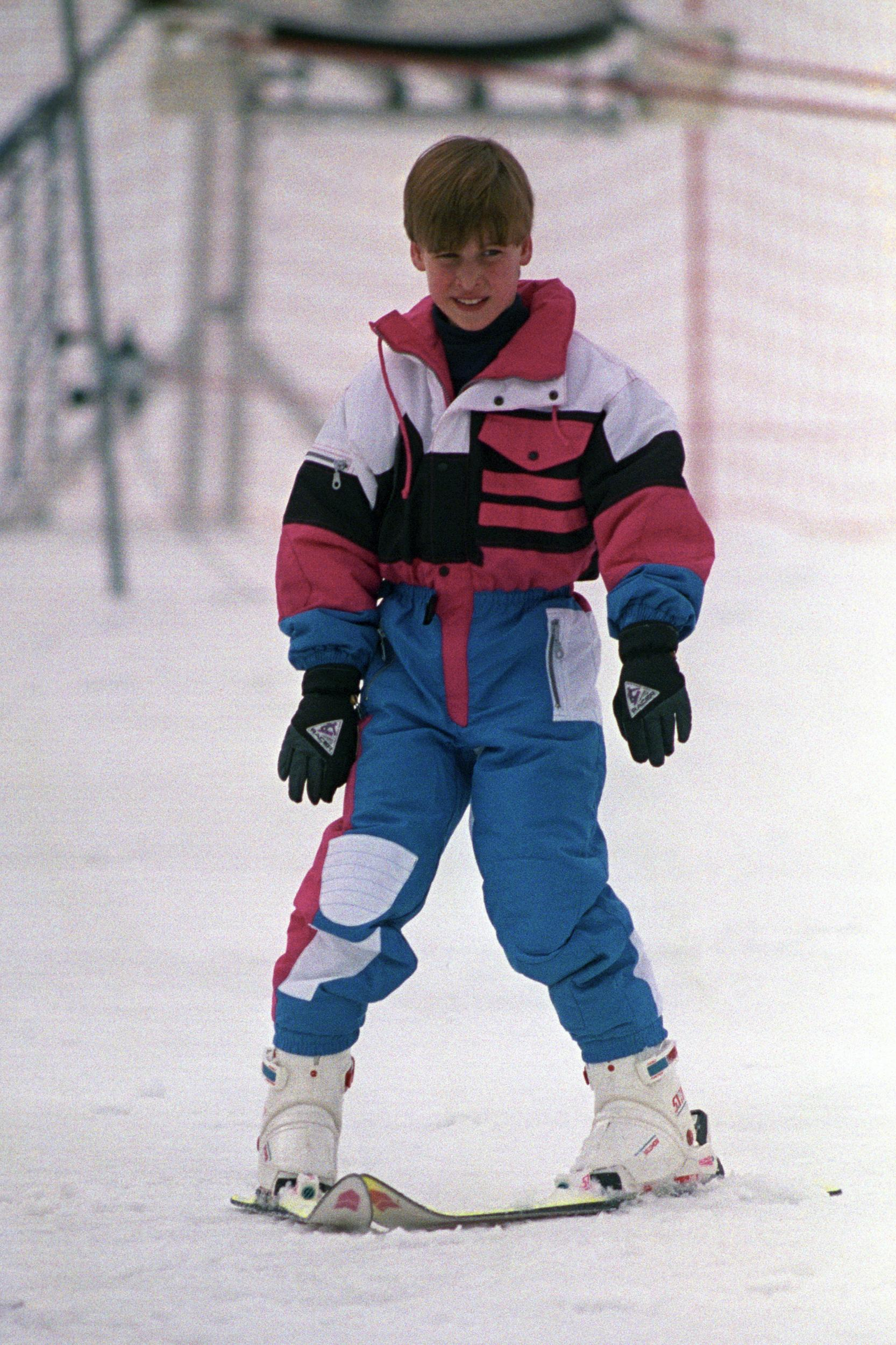 Prince William on the nursery slopes at Lech, Austria, during a holiday with his mother the Princess of Wales and brother Prince Harry.   (Photo by Martin Keene - PA Images/PA Images via Getty Images)
