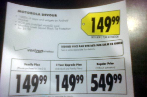 Motorola Devour to sell for $150 at Best Buy?