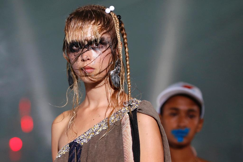 One of the creations at Andreas Kronthaler's spectacularly idiosyncratic show at Paris Fashion Week (AFP Photo/Patrick KOVARIK)