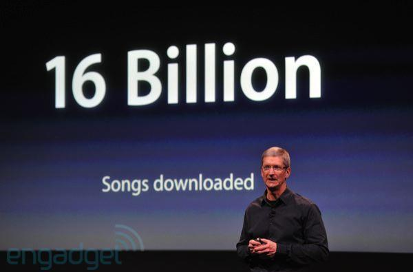 Apple: 16 billion iTunes songs downloaded, 300 million iPods sold