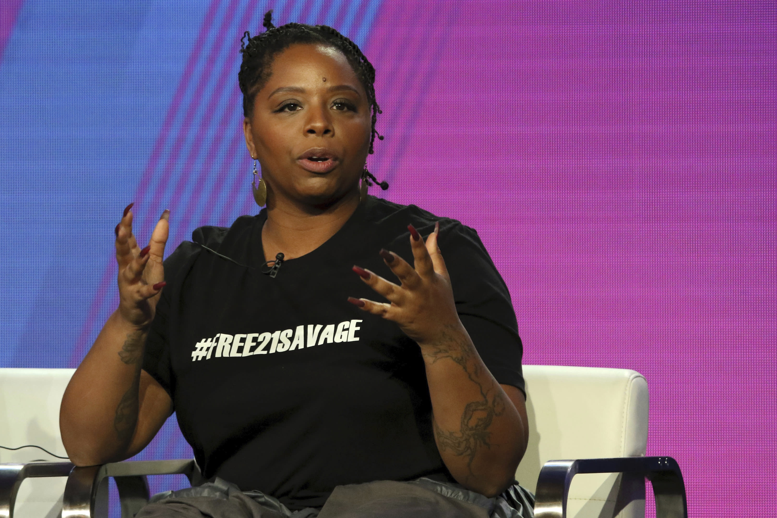 """FILE - In this Feb. 11, 2019, file photo, Patrisse Cullors, Black Lives Matter co-founder, participates in the """"Finding Justice"""" panel during the BET presentation at the Television Critics Association Winter Press Tour at The Langham Huntington in Pasadena, Calif. Proposed federal legislation that would radically transform the nation's criminal justice system through such changes as eliminating agencies like the Drug Enforcement Administration and the use of federal surveillance technology is set to be unveiled Tuesday, July 7, 2020, by the Movement for Black Lives. """"We stand on the shoulders of giants and there has been 400 years of work that Black people have done to try to get us closer to freedom,"""" Cullors said. (Photo by Willy Sanjuan/Invision/AP, File)"""