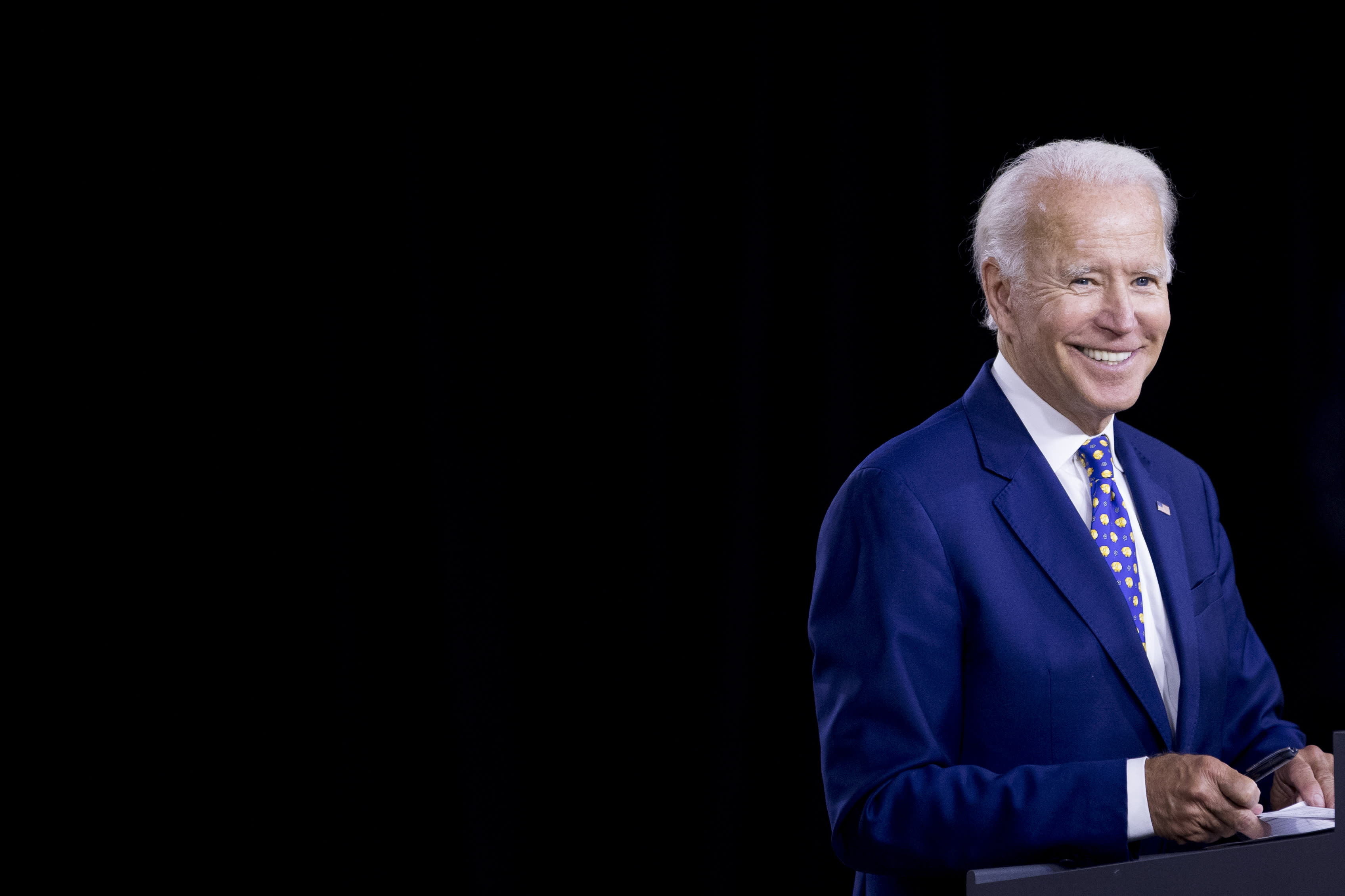 """Democratic presidential candidate former Vice President Joe Biden smiles at a campaign event at the William """"Hicks"""" Anderson Community Center in Wilmington, Del., Tuesday, July 28, 2020.(AP Photo/Andrew Harnik)"""