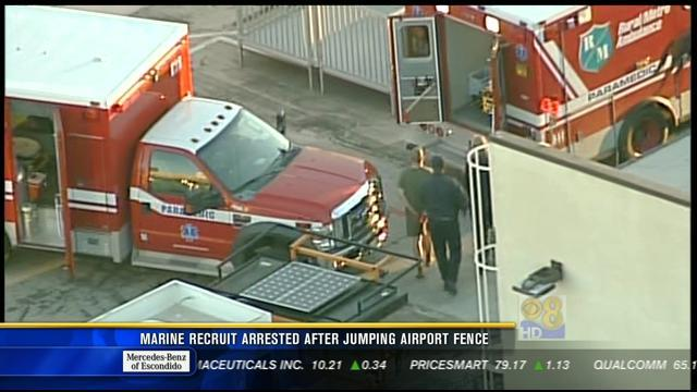 Marine recruit arrested after jumping airport fence