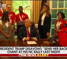 President Trump disavows 'send her back' chant at North Carolina rally