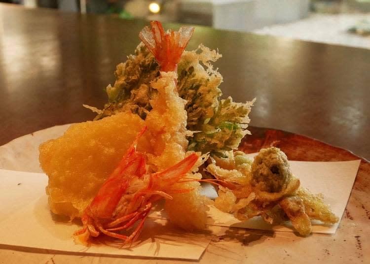 季節野菜炸車蝦天婦羅(天ぷら 車海老1尾 季節野菜)850 日圓