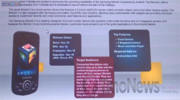 T-Mobile Tap coming November 11, Samsung Behold II on November 18?