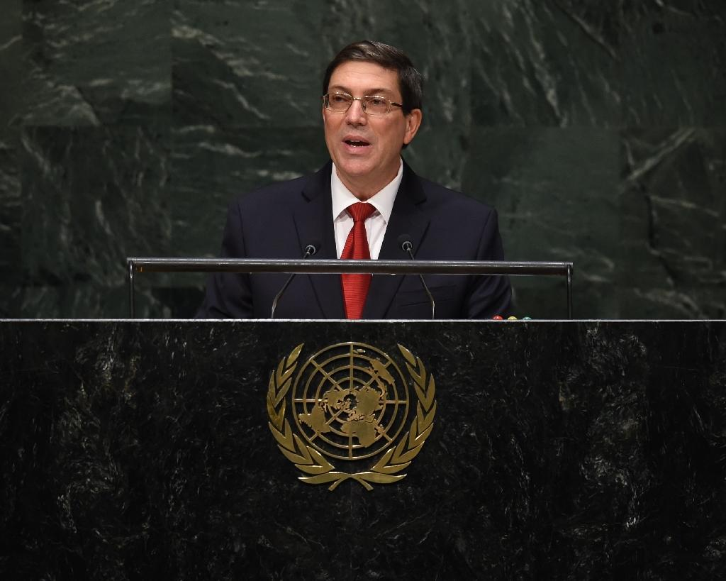 Bruno Rodríguez Parrilla, Minister for Foreign Affairs of Cuba, speaks during the 69th Session of the UN General Assembly, September 27, 2014 (AFP Photo/Timothy A. Clary)