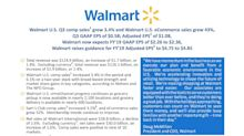 Walmart U.S. Q3 comp sales grew 3.4% and Walmart U.S. eCommerce sales grew 43%, Q3 GAAP EPS of $0.58; Adjusted EPS of $1.08, Walmart now expects FY'19 GAAP EPS of $2.26 to $2.36, Walmart raises guidance for FY'19 Adjusted EPS to $4.75 to $4.85