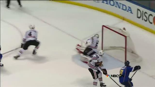 Tarasenko rips it from the slot past Crawford