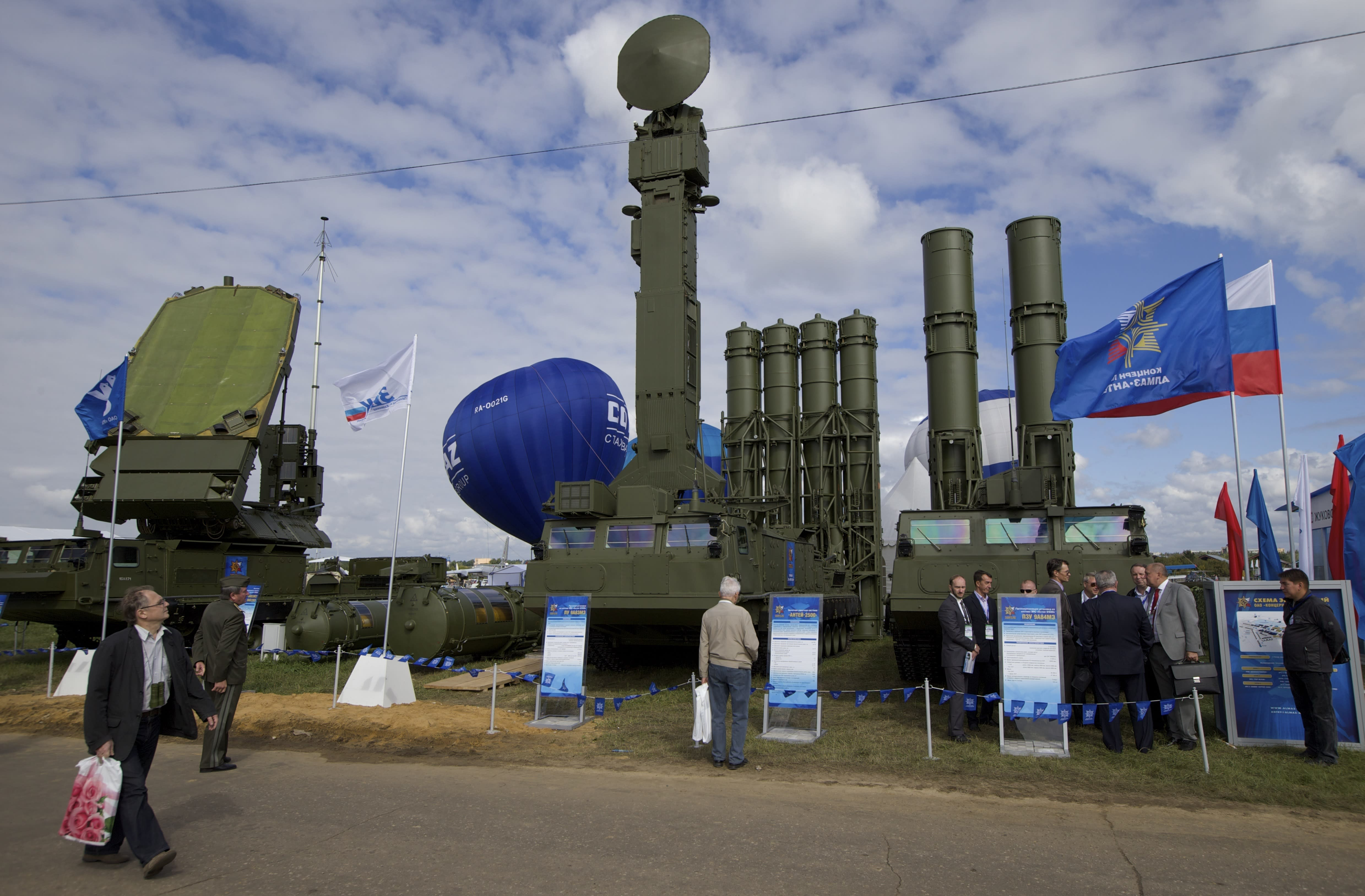 FILE - In this file photo taken on Tuesday, Aug. 27, 2013, Russian air defense system missile system Antey 2500, or S-300 VM, is on display at the opening of the MAKS Air Show in Zhukovsky outside Moscow, Russia. Moscow will supply the Syrian government with modern S-300 missile defense systems following last week's downing of a Russian plane, the Russian Defense Minister announced on Monday Sept. 24, 2018. (AP Photo/Ivan Sekretarev, File)
