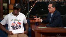 Dennis Rodman defends Kim Jong Un during nonsensical interview with Stephen Colbert