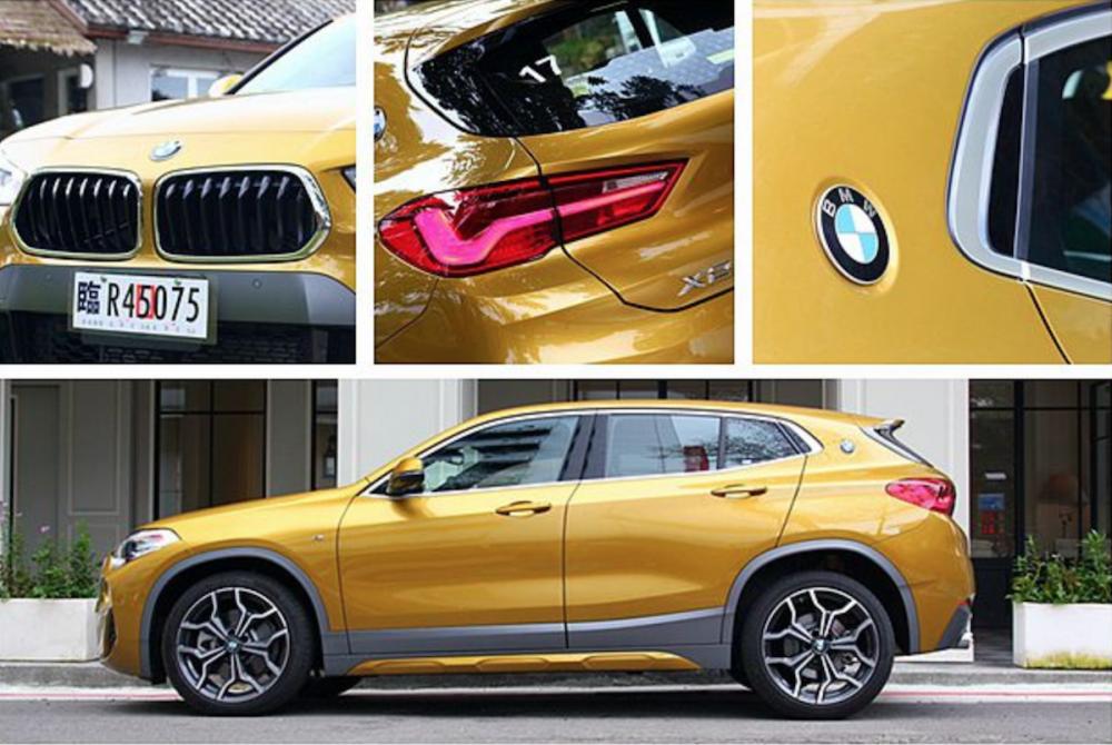 X 休旅家族首見的梯形雙腎形水箱護罩及 C 柱 BMW 藍白廠徽,是 BMW X2 最大的外觀特徵。