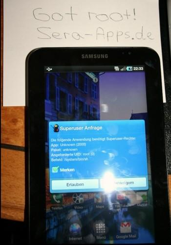 Samsung Galaxy Tab rooted, just for bragging rights