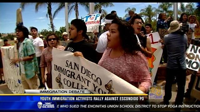 Youth immigration activists rally against Escondido Police Dept.