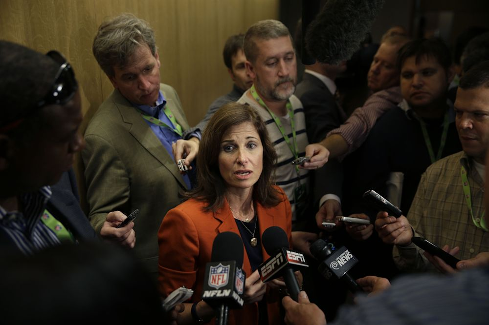 The NFLPA is questioning the conduct of NFL executive Lisa Friel, pictured here in 2014, in her handling of Ezekiel Elliott's suspension. (AP)