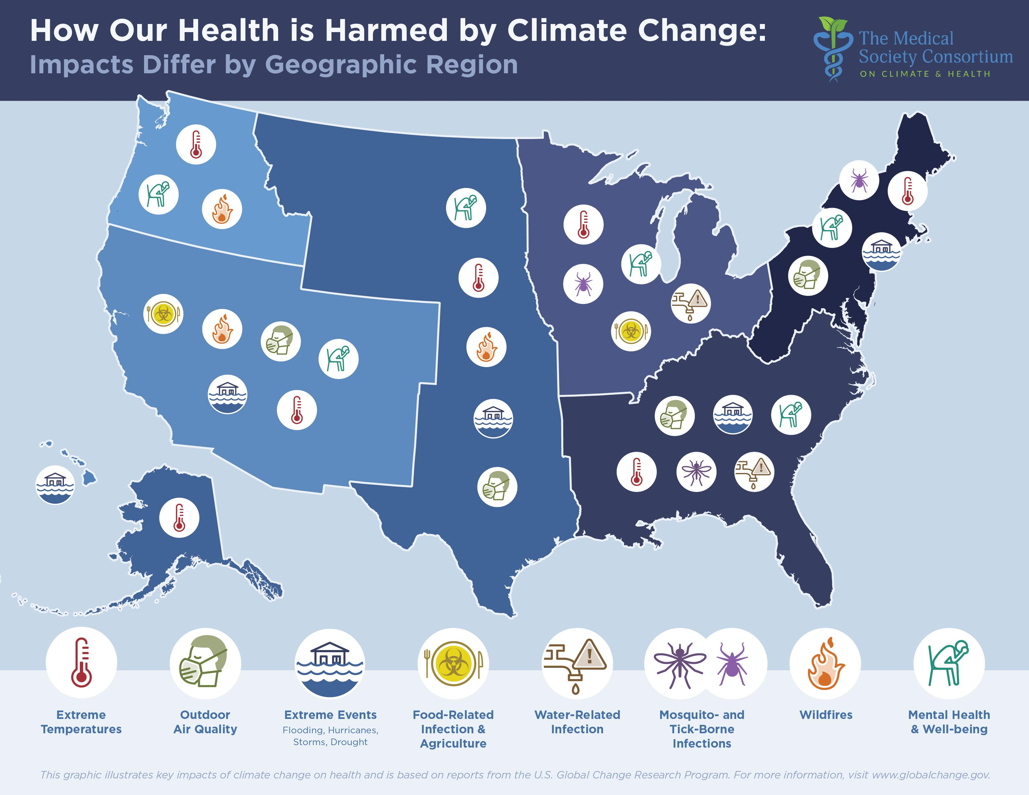 Map shows how climate change will affect health across us for Global shows