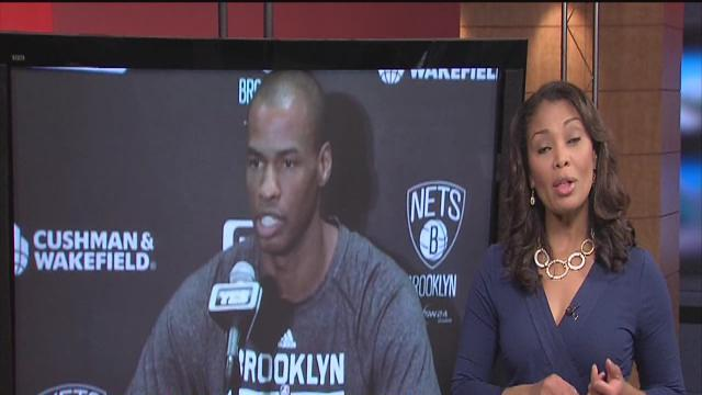 NBA's 1st openly gay player, Jason Collins enters basketball game for Brooklyn Nets