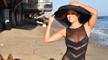 Brooke Burke, 45, shows off stunning see-through beach look