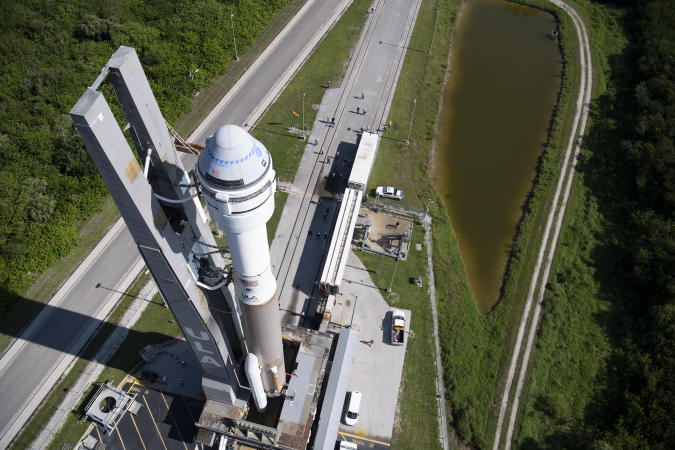 CAPE CANAVERAL, FL - JULY 29: In this NASA handout, A United Launch Alliance Atlas V rocket with Boeings CST-100 Starliner spacecraft onboard is seen as it is rolled out of the Vertical Integration Facility to the launch pad at Space Launch Complex 41 ahead of the Orbital Flight Test-2 (OFT-2) mission, Thursday, July 29, 2021 at Cape Canaveral Space Force Station in Florida. Boeings Orbital Flight Test-2 will be Starliners second uncrewed flight test and will dock to the International Space Station as part of NASA's Commercial Crew Program. The mission, currently targeted for launch at 2:53 p.m. EDT Friday, July 30, will serve as an end-to-end test of the system's capabilities. Photo Credit: (NASA/Joel Kowsky)