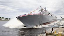 Lockheed-led team launches another littoral combat ship, sideways. Here's the video.