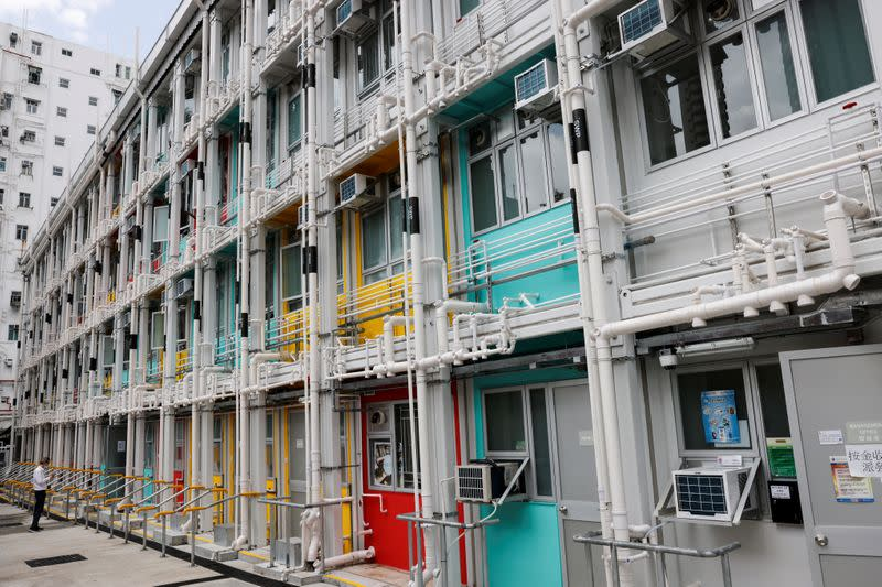"Government's newly-built four-story ""module homes"" building made from pre-fabricated parts are seen at Shek Kip Mei, in Hong Kong"