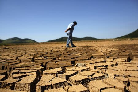 A worker of SABESP looks at the cracked ground of Jaguary dam in Braganca Paulista