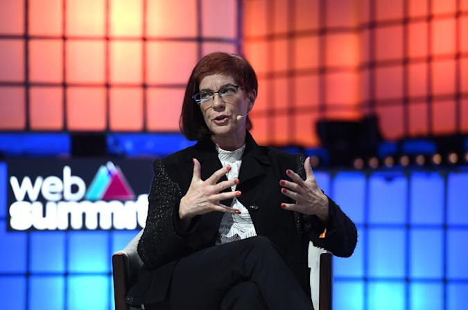 LISBON , PORTUGAL - 7 November 2019; Mitchell Baker, Co-founder & Chairwoman, Mozilla, on Centre stage during the final day of Web Summit 2019 at the Altice Arena in Lisbon, Portugal. (Photo By Harry Murphy/Sportsfile for Web Summit via Getty Images)