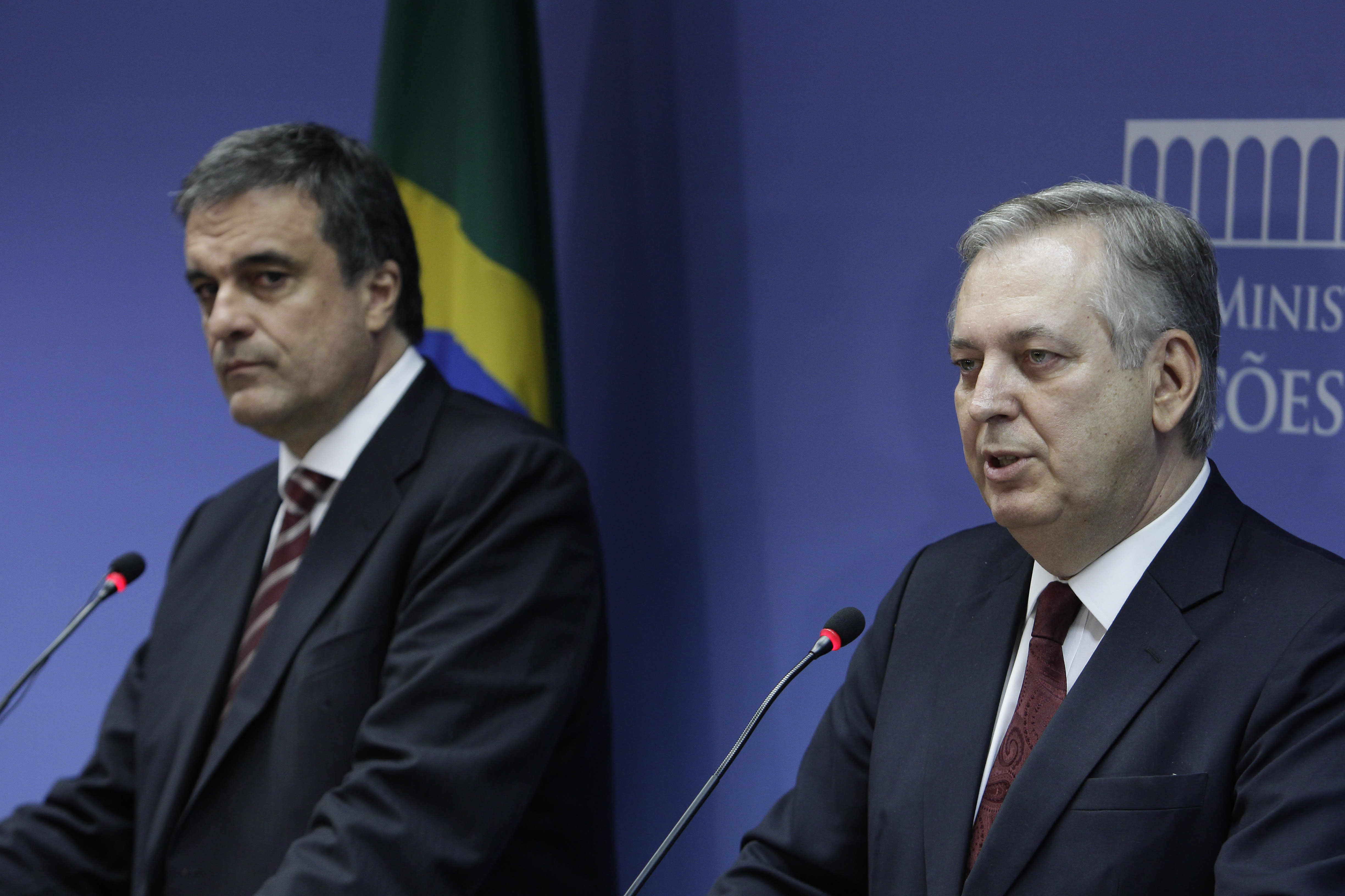 Brazil's Foreign Minister Luiz Alberto Figueiredo Machado, right, speaks alongside Brazil's Justice Minister Jose Eduardo Cardoso during a news conference at Itamaraty palace in Brasilia, Brazil, Monday, Sept. 2, 2013. The Brazilian government called in the U.S. ambassador Monday to provide explanations about new revelations that the National Security Agency's spy program directly targeted the South American giant's leader, President Dilma Rousseff . (AP Photo/Eraldo Peres)