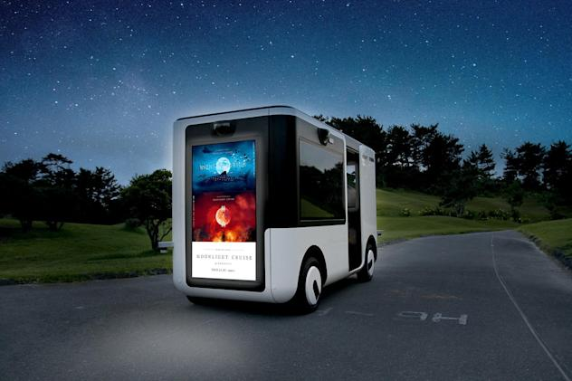 Sony's self-driving 'Sociable Cart' delivers mixed-reality inside, ads outside