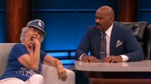 'Rally Granny' makes Steve Harvey squirm with talk of flashing her bare chest