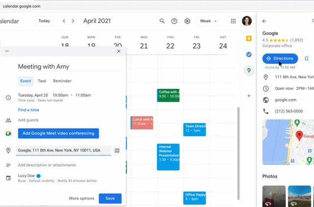 Google is adding a Maps widget to Calendar in Workspace