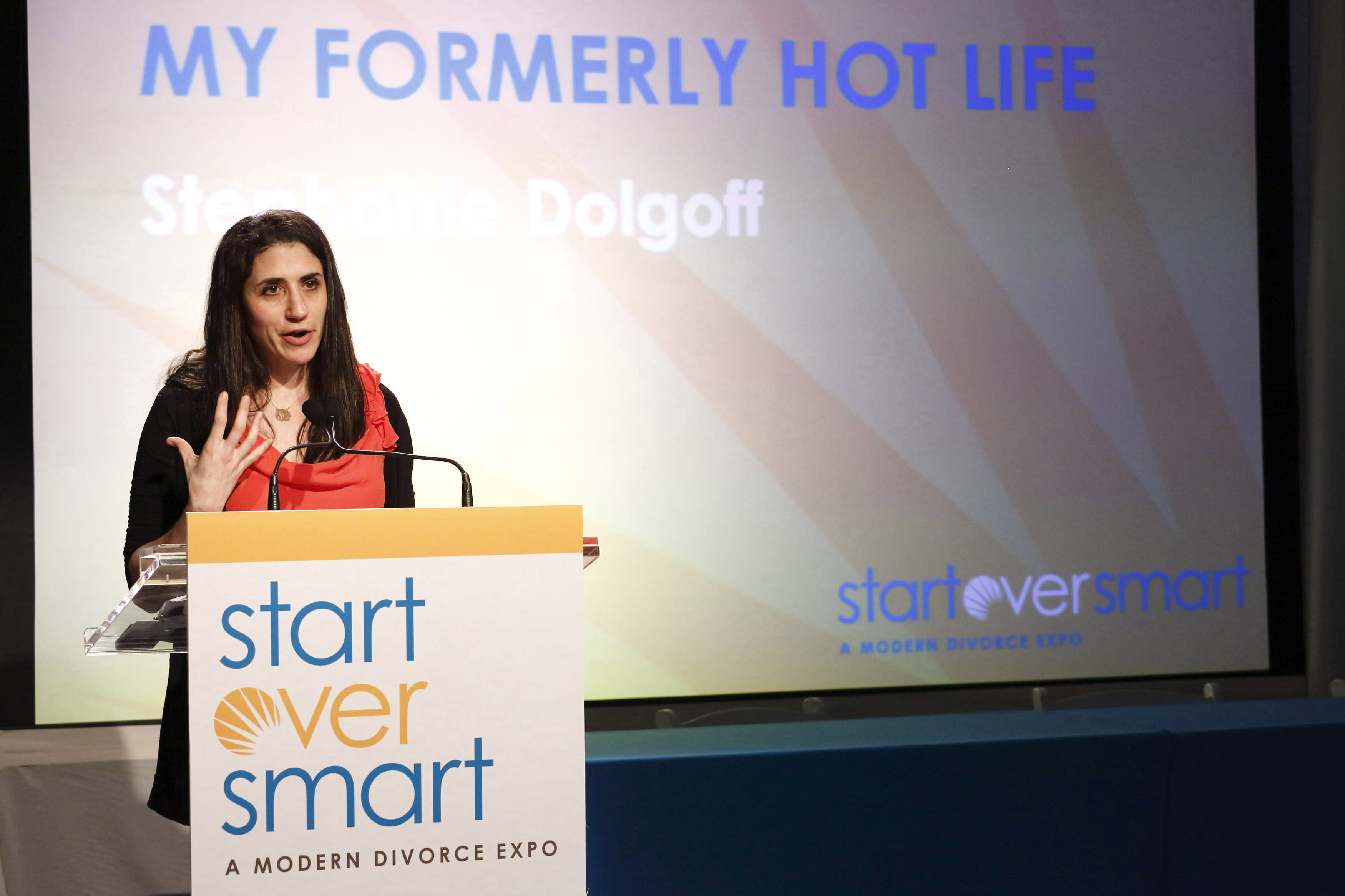 """In this march 31, 2012 photo, author Stephanie Dolgoff presents a lecture entitled """"My Formerly Hot Life"""" at the Start Over Smart Divorce Expo in New York. A smattering of vendors set up booths offering everything from a divorce planning binder to advice on long-term insurance, with seminars on such topics as """"Sensuality Secrets"""" and """"My Formerly Hot Life."""" (AP Photo/Charles Sykes)"""