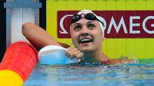 Swimmer breaks a world record in backstroke