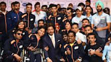 SRK flags off Indian paralympic contingent for 2018 Asian Para Games