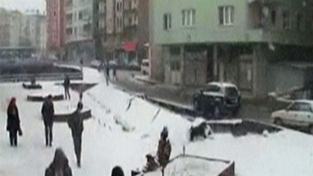 Watch: Heavy snow collapses walkway in Turkey