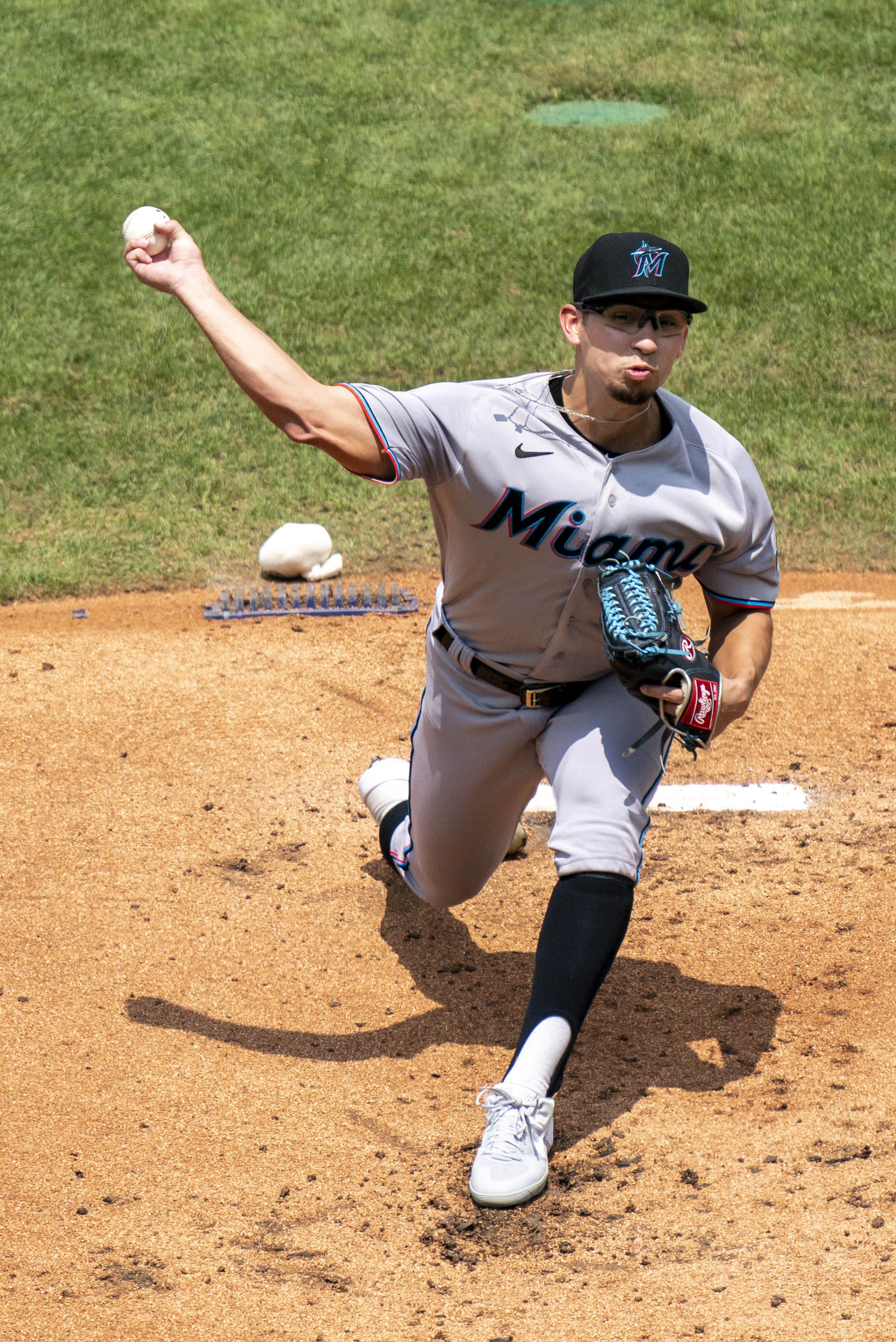 Miami Marlins starting pitcher Robert Dugger throws during the first inning of a baseball game against the Philadelphia Phillies, Sunday, July 26, 2020, in Philadelphia. (AP Photo/Chris Szagola)